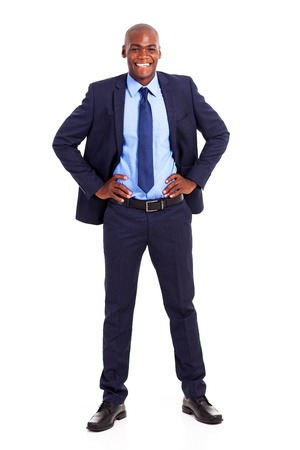 happy black businessman in suit isolated on white photo