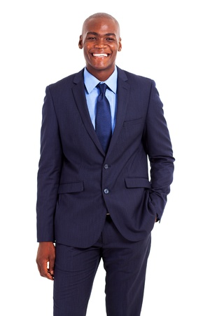 half  length: happy african american businessman half length portrait isolated on white Stock Photo