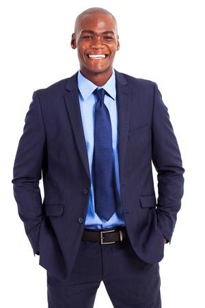 happy young man: handsome african businessman half length portrait
