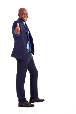 handsome african american businessman in suit giving thumb up photo