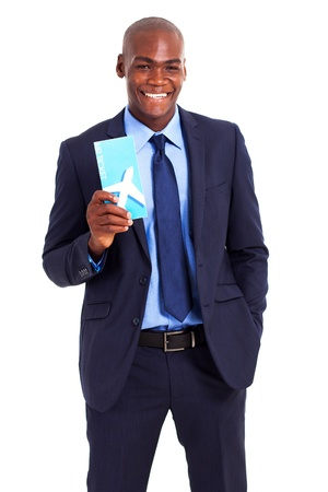 african businessman holding air ticket isolated on white photo