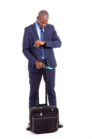 african american businessman travel with air ticket and trolley bag Stock Photo - 18208731