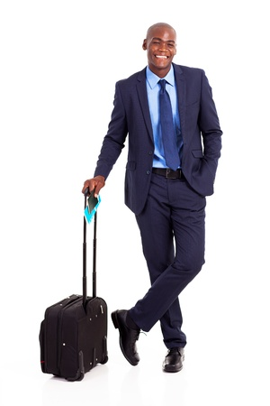 black business traveller full length portrait on white photo