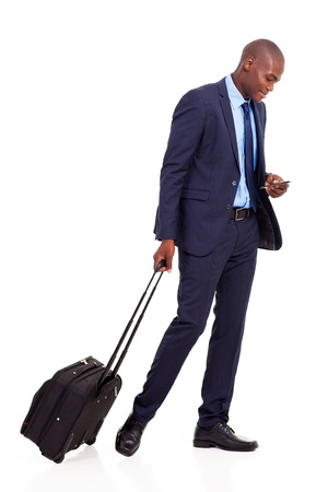 african american business traveller walking on white Stock Photo - 18208706