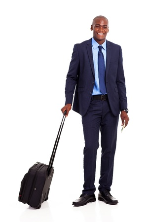 business traveler: african american business traveler full length portrait isolated on white