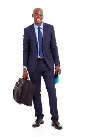 african businessman with briefcase isolated on white photo