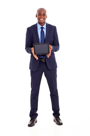 happy african american businessman holding tablet computer photo