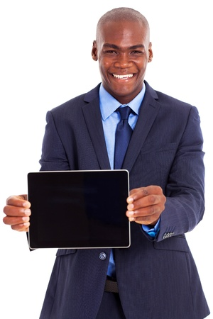 african american male: happy african businessman holding tablet computer