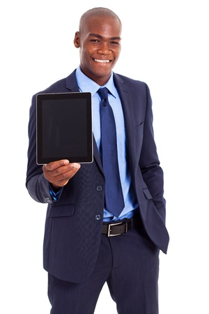 well dressed  holding: african businessman holding tablet computer half length portrait Stock Photo