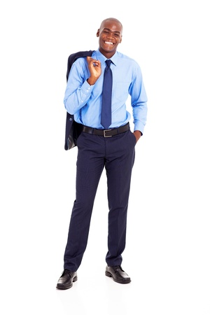 businessman standing: african businessman carrying jacket on shoulder isolated on white Stock Photo