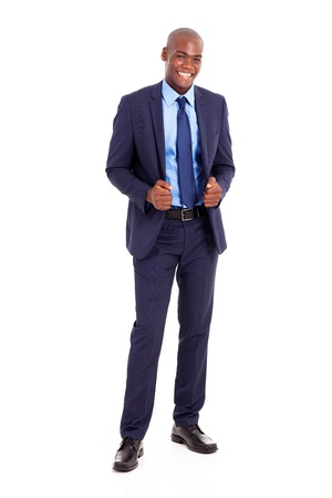 white body suit: handsome black businessman in suit isolated on white Stock Photo