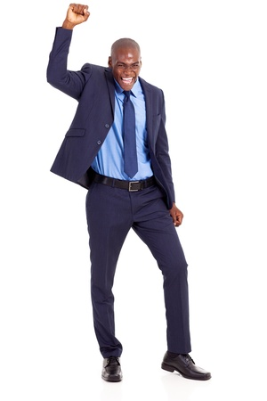 african businessman: cheerful african american businessman waving fist isolated on white