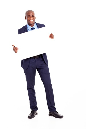 happy african businessman holding banner isolated on white photo