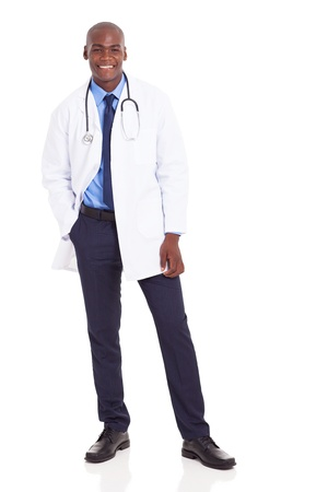 doctors and nurses: happy african medical doctor full length portrait on white