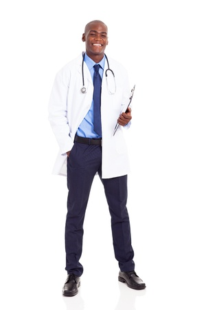 male african medical worker full length portrait on white photo