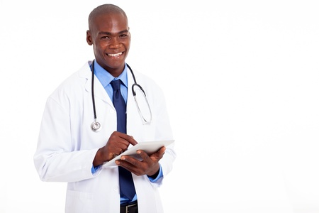 male african american medical doctor with tablet computer on white photo