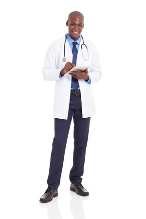 male black health care worker with tablet computer isolated on white photo