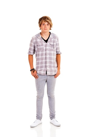teen boy full length portrait isolated on white background