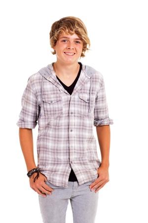 cute teenage boy studio portrait isolated on white photo