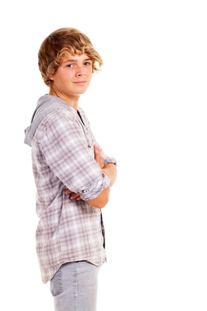 teen boy studio portrait isolated on white photo