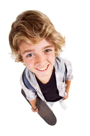 overhead view of cute teen boy on white background Stock Photo - 18578703