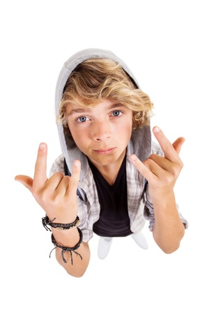 overhead view of cool teen boy giving hand sign on white Stock Photo - 18578908