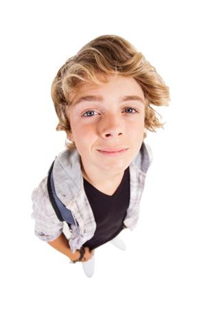 overhead view of handsome teen boy looking up Stock Photo - 18578862