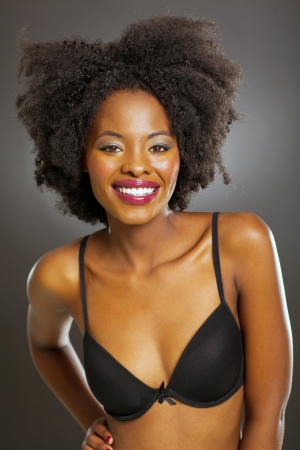 pretty african woman in black bra photo