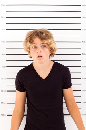 shocked teen boy taking police mug shot Stock Photo - 18440221