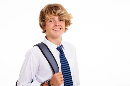 happy male teen high school student on white photo