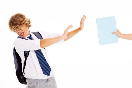 naughty teen student dislike and refuse to study