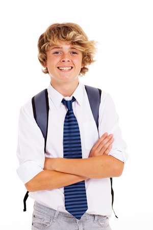 cute teen boy: happy teen boy student arms crossed on white Stock Photo