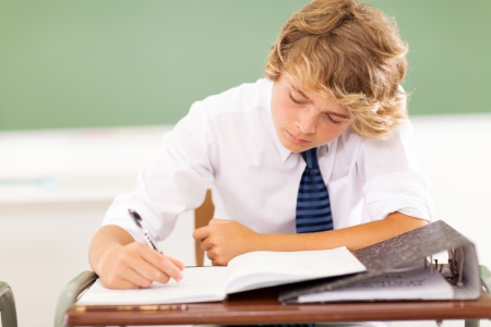 blonde teenager: cute high school student writing in classroom