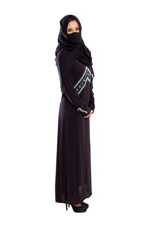 young arabian woman full length portrait on white photo