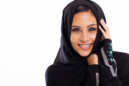modern female Arabic beauty on white background photo