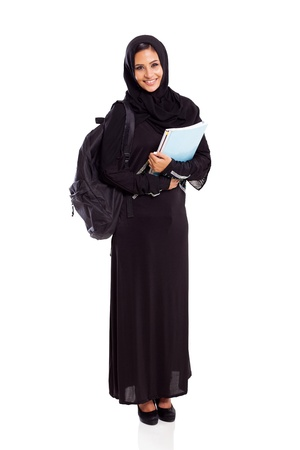 pretty female arabian university student full length isolated on white photo
