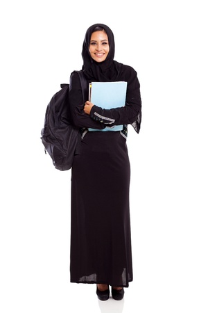 femmes muslim: mignon �tudiante coll�ge musulman isol� sur blanc