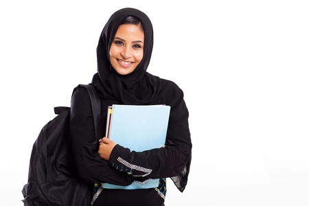 muslim woman: beautiful female middle eastern college student isolated on white