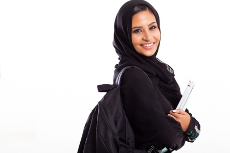 arabic woman: attractive female Arabic college student isolated on white Stock Photo