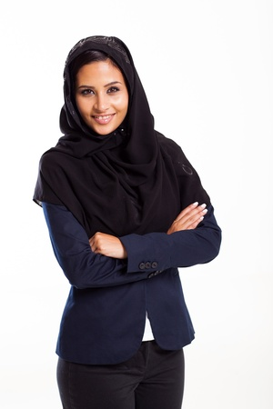 modern Arabic businesswoman on white background Stock Photo