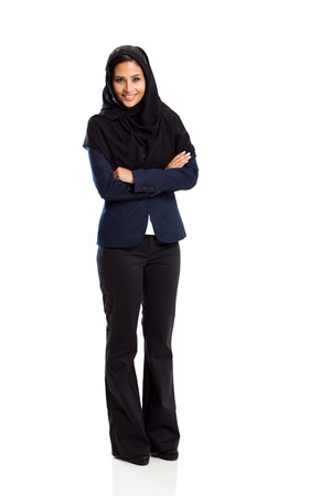 young middle eastern businesswoman full length isolated on white photo
