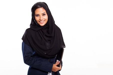 hijab: cute middle eastern businesswoman with tablet computer