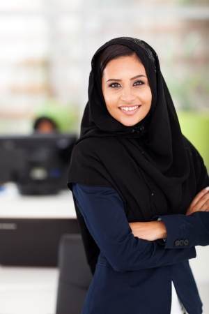 pretty Arabic businesswoman portrait in office photo