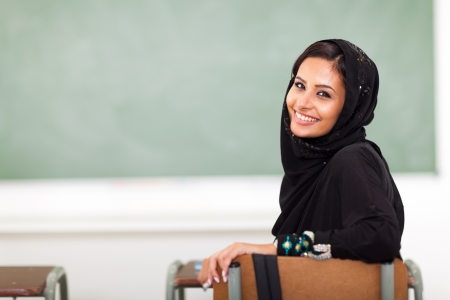 modern Muslim college girl in classroom photo