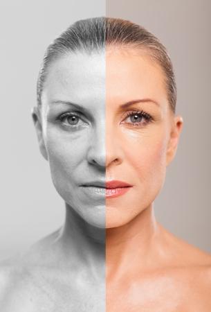 Comparación de la mujer de mediana edad, antes y después del maquillaje