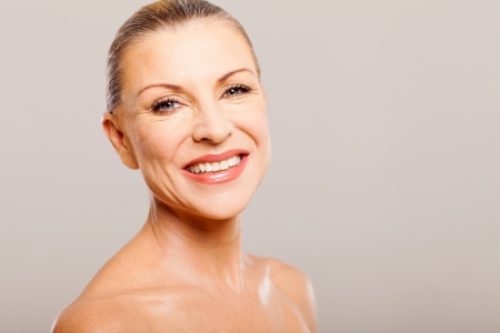 makeover: beautiful senior woman after a makeover portrait closeup  Stock Photo