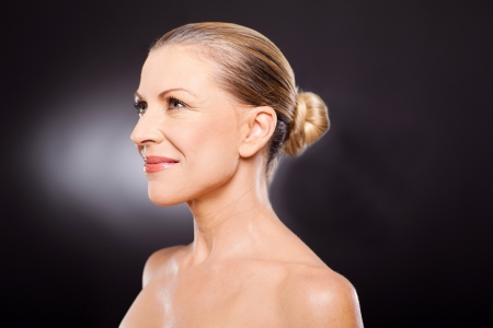 elegancy: middle aged woman side view