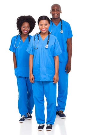 group of african health workers isolated on white background photo