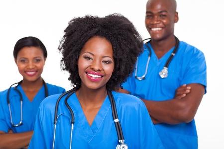 group of happy afro american nurses on white background photo