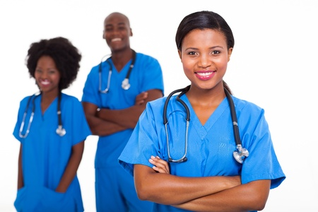 group of african american medical workers on white background photo